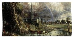 Salisbury Cathedral From The Meadows Bath Towel