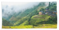 Terrace Fields Scenery In Autumn Bath Towel
