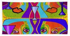Hand Towel featuring the digital art 1688 - Funny Faces 2017 by Irmgard Schoendorf Welch