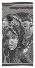 Hand Towel featuring the digital art 1667 - The Sisters by Irmgard Schoendorf Welch