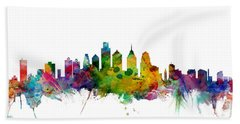 Philadelphia Pennsylvania Skyline Hand Towel by Michael Tompsett