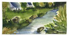 Bath Towel featuring the painting 17th Hole Sun City by Frank Bright