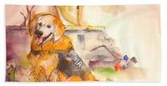 Bath Towel featuring the painting Dogs  Dogs  Dogs  Album  by Debbi Saccomanno Chan