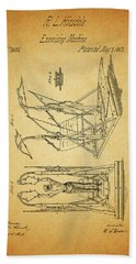 1853 Exercising Machine Patent Hand Towel by Dan Sproul