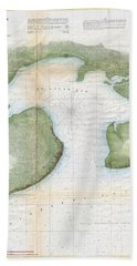 1857  Coast Survey Map Of St. Louis Bay And Shieldsboro Harbor, Mississippi  Bath Towel