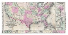 1862 Johnson Military Map Of The United States Civil War  Bath Towel