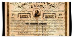 1863 Confederate States Of America Loan With Stonewall Jackson Portrait Issued At Houston Bath Towel