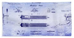 1865 Gatling Gun Blueprint Bath Towel