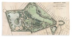 1868 Vaux And Olmstead Map Of Prospect Park Brooklyn New York Bath Towel