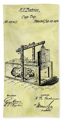 Hand Towel featuring the mixed media 1870 Mousetrap Patent by Dan Sproul