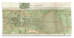 1870 Vaux And Olmstead Map Of Central Park New York City Bath Towel