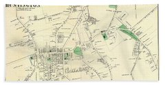 1873 Beers Map Of The Town Of Huntington, Long Island, New York Bath Towel