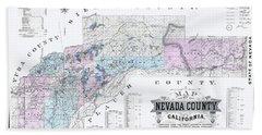 1880 Nevada County Mining Claim Map Bath Towel