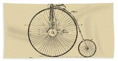 1881 Velocipede Bicycle Patent Artwork - Vintage Hand Towel