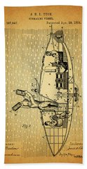 1884 Submarine Ship Patent Hand Towel by Dan Sproul