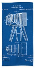 1885 Camera Us Patent Invention Drawing - Blueprint Bath Towel
