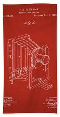 1888 Camera Us Patent Invention Drawing - Red Bath Towel