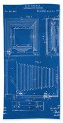 1891 Camera Us Patent Invention Drawing - Blueprint Bath Towel