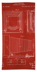 1891 Camera Us Patent Invention Drawing - Red Bath Towel
