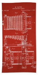 1897 Camera Us Patent Invention Drawing - Red Bath Towel