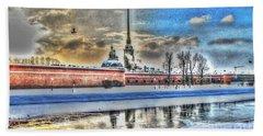 Hand Towel featuring the pyrography Peterburg by Yury Bashkin