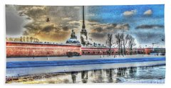 Bath Towel featuring the pyrography Peterburg by Yury Bashkin