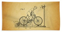 1900 Bicycle Exercise Stand Bath Towel by Dan Sproul