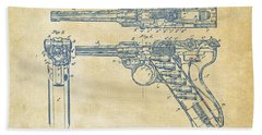 1904 Luger Recoil Loading Small Arms Patent - Vintage Bath Towel