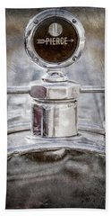 Hand Towel featuring the photograph 1920 Pierce-arrow Model 48 Coupe Hood Ornament -2829ac by Jill Reger
