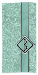 1920s Blue Deco Jazz Swing Monogram ...letter B Bath Towel
