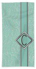 1920s Blue Deco Jazz Swing Monogram ...letter C Bath Towel