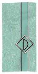 1920s Blue Deco Jazz Swing Monogram ...letter D Bath Towel