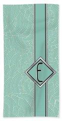 1920s Blue Deco Jazz Swing Monogram ...letter E Bath Towel