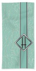 1920s Blue Deco Jazz Swing Monogram ...letter H Bath Towel