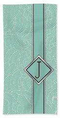 1920s Blue Deco Jazz Swing Monogram ...letter J Bath Towel