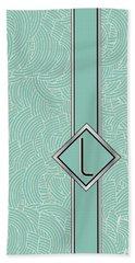 1920s Blue Deco Jazz Swing Monogram ...letter L Bath Towel