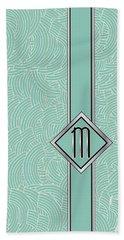 1920s Blue Deco Jazz Swing Monogram ...letter M Bath Towel