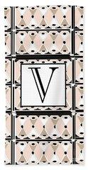 1920s Pink Champagne Deco Monogram  V Bath Towel
