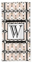 1920s Pink Champagne Deco Monogram  W Hand Towel