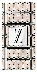 1920s Pink Champagne Deco Monogram  Z Hand Towel