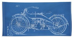 Hand Towel featuring the digital art 1924 Harley Motorcycle Patent Artwork Blueprint by Nikki Marie Smith