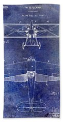 1929 Airplane Patent Blue Bath Towel