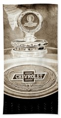 Bath Towel featuring the photograph 1928 Chevrolet 2 Door Coupe Hood Ornament Moto Meter -0789s by Jill Reger
