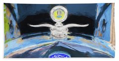 Hand Towel featuring the photograph 1929 Ford Model A Hood Ornament Painted by Rich Franco