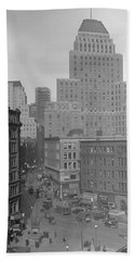 Hand Towel featuring the photograph 1929 Summer Street In Dock Square Boston by Historic Image