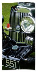 Hand Towel featuring the photograph 1930s Aston Martin Front Grille Detail by John Colley