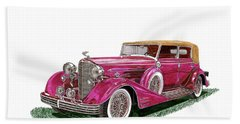 Bath Towel featuring the painting 1932 Cadillac All Weather Phaeton V 16 by Jack Pumphrey