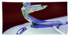 Hand Towel featuring the photograph 1933 Plymouth Hood Ornament -0121rc by Jill Reger