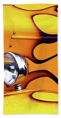 Hand Towel featuring the photograph 1934 Ford Custom Yellow Hot Rod by Baggieoldboy