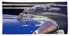 Hand Towel featuring the digital art 1934  Ford Greyhound Hood Ornament by Chris Flees